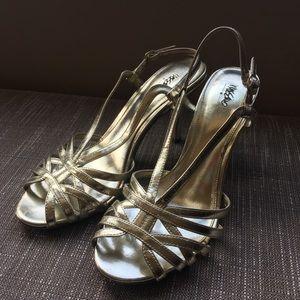 Gold Strappy Sandal Heels